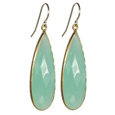 Gold Long Seafoam Chalcedony Gemstone Drops