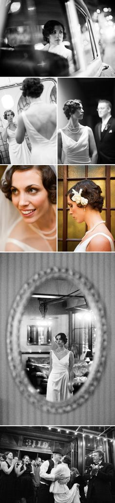 Gorgeous vintage wedding style with finger waves and pearls, photos by GH Kim Photography