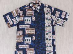 0c8d596d0 Hawaiian Shirt Men HILO HATTIE Tiki Tribal Tropical Aloha Shirt Hawaii  Pineapple Fish Friendship Vintage Camp - M - Oahu Lew's Shirt Shack