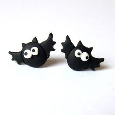 Funny Handmade Scary Black Vampire Bat Horror Halloween Party Spooky Witch Stud Mini Retro Goth Fancy Dress Gift Idea Fimo Earrings Jewelry