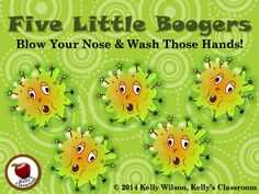Five Little Boogers Blow Your Nose & Wash Your Hands Health- I REALLY hate the word 'boogers,' but I can see the usefulness of this unit. I'll just have to 'teacher-up' and do this with my kinder-bears this year, no matter how queasy it makes me feel. Body Preschool, Preschool Art, Germs For Kids, Daycare Themes, Daycare Crafts, Nurse Bulletin Board, Hygiene Lessons, Nurse Teaching, Activities Of Daily Living