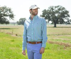 Evans Gingham Dress Shirt in Green and Purple. #SouthernMarsh