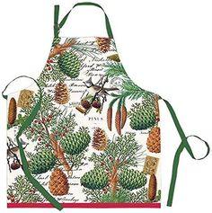 Michel Design Works Cotton Chef Apron - 4 Patterns; Lemon, Spruce, Golden Pear, Avocado