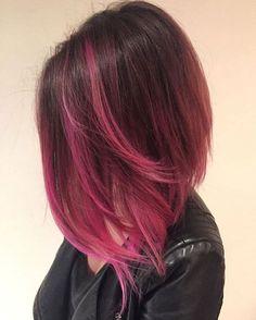 Angled Lob With Pink Balayage