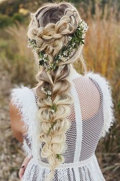 Rustic Wedding Hairstyles: 36 Ideas For A Feminine Look ❤ rustic wedding hairstyles long blonde braid with greenery annette_updo_artist #weddingforward #wedding #bride #rusticweddinghairstyles #weddinghair
