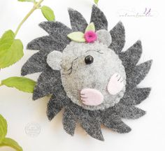 Little Berry Hedgehog handmade hedgehog brooch   by bynaturalmente