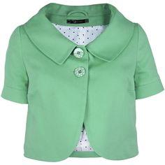 RAXEVSKY CARINE Green Piqué Jacket found on Polyvore