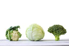 Repolho, brócolis e couve-flor