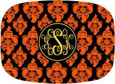 Halloween Monogrammed Melamine Platter  by PinkWasabiInk HALLOWEEN DAMASK
