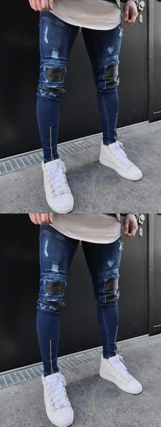 1705ea6e8f8d 2018 New Dropshipping Men Jeans Stretch Destroyed Ripped Design Fashion  Holes Patchwork Ankle Zipper Skinny Jeans For Men  MensJeans