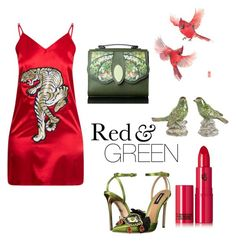 """""""Red and green"""" by greensparkle1 ❤ liked on Polyvore featuring Dsquared2, Lipstick Queen, A&B Home, red, GREEN, bird and tiger"""