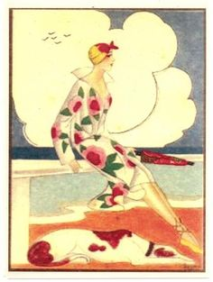 Vogue/Art Deco Greyhound Dog Art Cards set of 4 w/envelopes