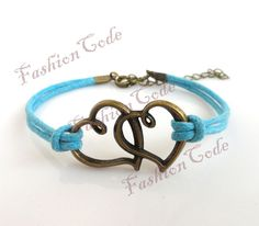 Heart BraceletAntique Bronze DoubleHeart by TheGiftoftheMagi, $1.99