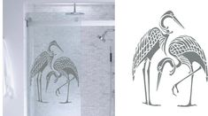 Items similar to Asian Herons- DIY Etched Glass Vinyl- Window Film Privacy- Shower Door- Bathroom Decals- Front Door on Etsy Glass Barn Doors, Glass Shower Doors, Sliding Glass Door, Etched Wine Glasses, Etched Glassware, Etched Glass Vinyl, Etched Mirror, Tub To Shower Remodel, Glass Etching