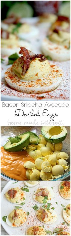 This spicy deviled eggs recipe is a tasty twist on a classic with the zing of Sriracha, the velvety smoothness of avocado, and the saltiness of bacon. Sriracha Bacon and Avocado deviled eggs are low carb and gluten free and make a great party appetizer an Easter Dinner Recipes, Easter Brunch, Brunch Recipes, Brunch Food, Breakfast Recipes, Yummy Appetizers, Appetizers For Party, Appetizer Recipes, Easter Appetizers
