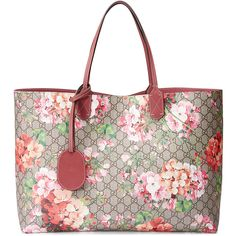 Gucci GG Blooms Large Reversible Leather Tote Bag (€1.285) ❤ liked on Polyvore featuring bags, handbags, tote bags, multi rose, leather purse, gucci purses, leather tote, white leather handbags and gucci handbags