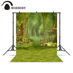 Allenjoy Backgrounds filming Forest green children bird tree fairy tale kids backgrounds for photo studio background vinyl