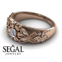 Rose Gold Engagement Ring by Segal Jewelry Engagement Ring For Her, Unique Diamond Engagement Rings, Antique Engagement Rings, Diamond Rings, Gold Wedding, Wedding Ring, Vintage Diamond, Moissanite, Proposal