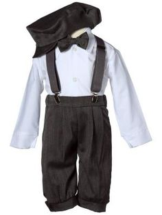 Infant Toddler / Boys Dark Vintage Grey Knicker with Hat and Suspenders Made in USA. Sizes from infant to boys Baby Boy Clothing Sets, Cute Baby Clothes, Baby Boy Outfits, Kids Outfits, Wedding Outfit For Boys, Boys Formal Wear, Wedding Tux, Wedding Ideas