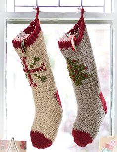 Yarnspirations.com - Bernat Cross Stitch Stockings - Patterns  | Yarnspirations