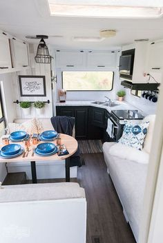 Diy Home  :   Illustration   Description   Our DIY Camper – Gorgeous, renovated RV tour with DIY paint job, vinyl plank flooring, reupholstered cushions, new hardware, updated lighting    -Read More –   - #DIYHome