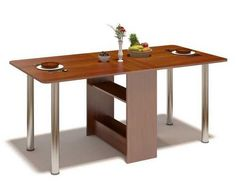 large dining table, foldting furniture design idea for small rooms Book case could hold placesettings.   neat