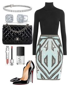 """""""Untitled #65"""" by perceptionandco on Polyvore featuring Wolford, Hervé Léger, Christian Louboutin, Chanel, Blue Nile, Christian Dior, NARS Cosmetics, women's clothing, women's fashion and women"""