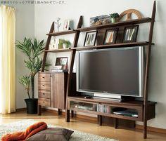 ウォールナット材天然木のシェルフ型テレビボード 幅115cm 日本製20