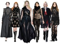 Goth Glamour : Goth is Back – but with Elegance and Romance : Autumn/winter designs by Valentino, Versace, Gucci, Helmut Lang, Givenchy, John Rocha (Photo: http://im.ft-static.com/content/images/5eddffe4-1f27-11e2-b906-00144feabdc0.img http://www.ft.com/intl/cms/s/2/efab3b36-16da-11e2-8989-00144feabdc0.html#)