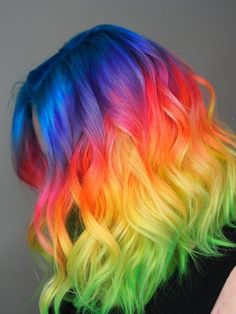 horizontal rainbow hair done with all pulp riot neon - Haar Ideen Cute Hair Colors, Pretty Hair Color, Beautiful Hair Color, Hair Dye Colors, Amazing Hair Color, Hidden Rainbow Hair, Unicorn Hair Color, Underlights Hair, Dye My Hair