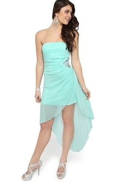 Deb Shops Strapless Glitter High Low #Prom #Dress with Rhinestone Applique Side