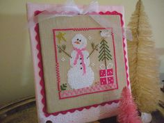 Completed Snowman Cross Stitch, Finished PINK Cross Stitch Pinkeep, Needlework, Handstitched by CraftyMJC on Etsy