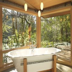 Lake Forest Park Renovation - modern - bathroom - seattle - by FINNE Architects Dream Bathrooms, Beautiful Bathrooms, Master Bathrooms, Bathroom Interior, Modern Bathroom, Earthy Bathroom, Nature Bathroom, Lake Bathroom, Modern Bathtub