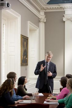 Faculty Member Richard Weissbourd Addresses Students in the Eliot-Lyman Room