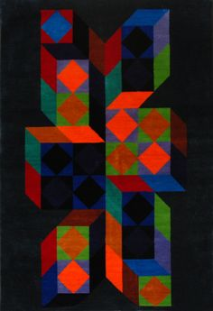 A Victor Vasarely optical illusion, hand woven into a tapestry