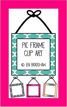 Clip art for teachers:  Picture Frame with Hanging Bow.  Perfect for teachers, homeschoolers, and families.  Great accent piece for class rules, class picture, or just for FUN!  clipart, graphics #clip #art #teacher