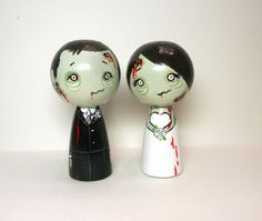 Adorable Zombie Wedding Cake Toppers by licoricewits on Etsy