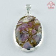 Attractive Oval Cooper Tormuline Stone 925 Sterling Silver Pendant P4755 #SilvexImagesIndiaPvtLtd #Pendant