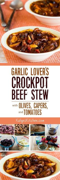 Garlic Lover's Crockpot Beef Stew with Olives, Capers, and Tomatoes is a delicious slow cooker beef stew that's low-carb, Keto, low-glycemic, gluten-free, South Beach Diet friend and can easily be Paleo or Whole 30 approved. Anyone who likes garlic and Mediterranean flavors will love this stew! [found on KalynsKitchen.com]