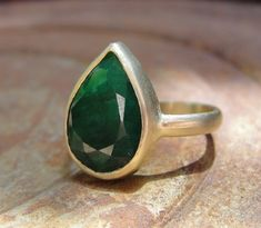 14k Gold and African Emerald Ring / Aurum Jewelry / via Etsy