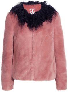 Shrimps - Fifi Faux Shearling-trimmed Faux Fur Coat - Antique rose
