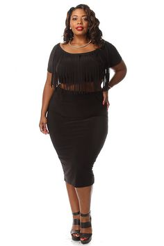 Plus Size Fringe Crop Top & Skirt Set