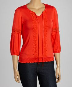 Another great find on #zulily! Red Embroidered Three-Quarter Sleeve Top - Plus #zulilyfinds