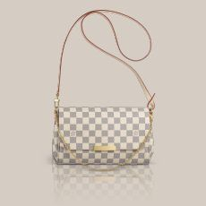 Favorite MM Damier Azur Canvas The versatile Pochette Favorite looks delightful in Damier Azur canvas. Its pure, feminine shape makes it ideal for all occasions.