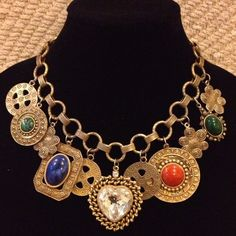 Les Bernard Chunky Charm Necklace Vintage Heart Signed Runway Couture | eBay