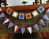 Patriotic Decorations- 4th of July Garland- July 4th Pennant Banner- Americana Classroom Decor-Photo Prop -Mantle Decor