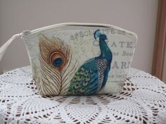 Peacocks Essential Oil Case Antiquebasketlady Cosmetic Bag Clutch Zip Made in the USA