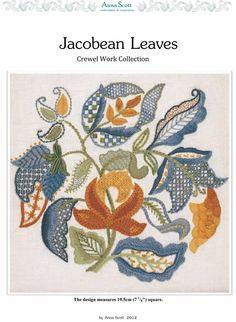 DESIGNERS OF CREWEL...ANNA SCOTT, BEAUTI- JACOBEAN LEAVES crewelwork pattern