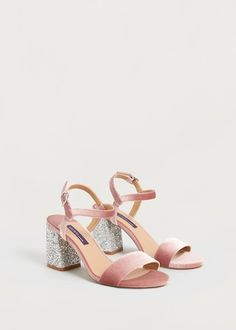 Fluwelen sandalen met glitter -  Grote maten | Violeta by MANGO Nederland