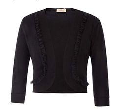 Vintage 3/4 sleeve bolero jacket with ruffles embellished